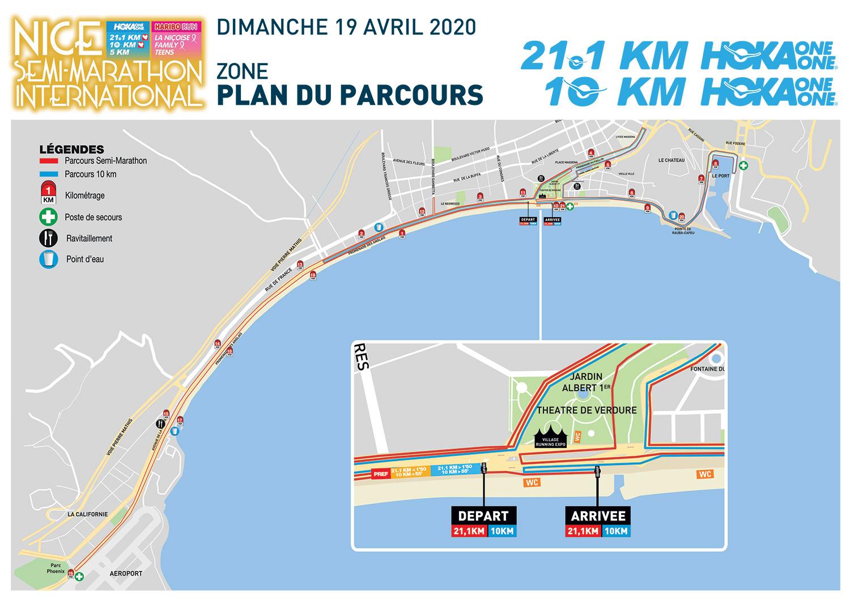 semi-marathon nice 2020-plan-parcours-21M-10KM