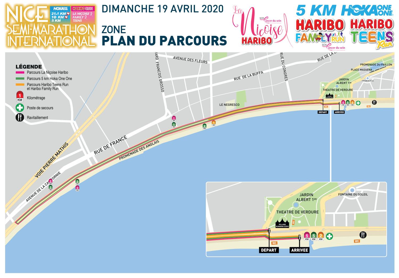 semi-marathon nice 2020-plan-parcours 21 KM - 10 KM - LA NICOISE - 5 KM - 2 KM